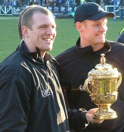 Mike Tindall with the Webb Ellis Cup