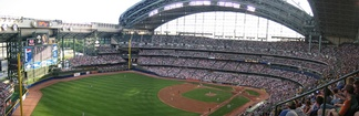 One side of Miller Park's fan-shaped roof and its large panes of glass