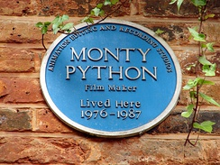 Blue plaque at Neal's Yard, London. In 1976 Palin and Gilliam bought offices here as studios and editing suites for Python films and solo projects.