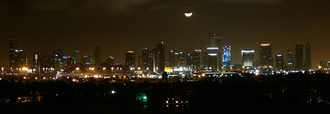 "View of the ""Moon over Miami"", a famous phrase that has inspired many pop culture items, including a movie, TV series, and song."