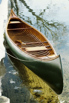 A B.N. Morris Canoe Company wood-and-canvas canoe built approximately 1912