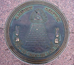 The reverse side of the Great Seal of the United States, as seen in Freedom Plaza.