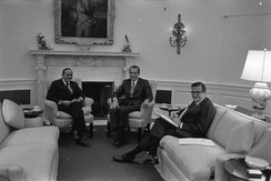 Colson with President Richard Nixon and pollster Louis Harris on October 13, 1971 in the Oval Office