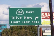 SR 162 turns right, (SE), onto Olive Highway as it leaves Oroville