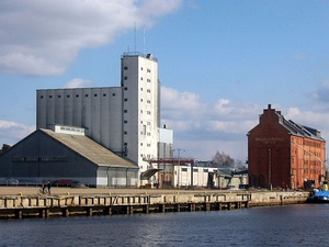 Old mill buildings and harbour in Toppila, Oulu, Finland