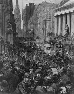 A newspaper illustration from Harper's Weekly, depicting the scene on Wall Street on the morning of May 14, 1884
