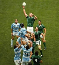 Paul O'Connell reaching for the ball during a line out against Argentina in 2007.
