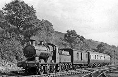 Newport - Brecon train entering the former Pontsticill Junction railway station in 1949