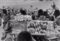 Queen Mary's funeral carriage. At her funeral, Mary's coffin was draped in her personal banner of arms.[61]