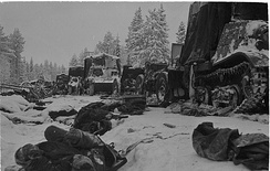 Fallen Soviet soldiers and their equipment litter the road and the ditch next to it after being encircled at the Battle of Raate Road