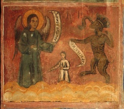 Angel with Temperance and Humility virtues versus Devil with Rage and Wrath sins. A fresco from the 1717 Saint Nicolas Orthodox church in Cukovets, Pernik Province, Bulgaria
