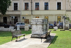 Sarcophagus from Viminacium in front of the National museum in Požarevac