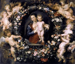 Madonna on Floral Wreath by Peter Paul Rubens with Jan Brueghel the Elder, c. 1619