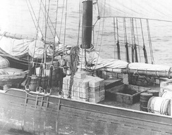 Rum runner schooner Kirk and Sweeney with contraband stacked on deck