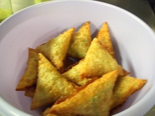 A plate of sambusas a popular traditional snack.