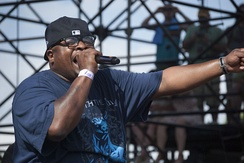 Scarface, of the group Geto Boys, whose violent, horror-themed lyrics have been singled out as the first recorded example of horrorcore.