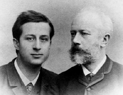 Siloti (left) with Tchaikovsky (right).