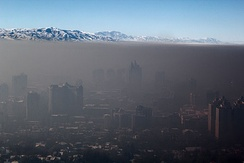 Picture taken during a temperature inversion, showing smog trapped over Almaty
