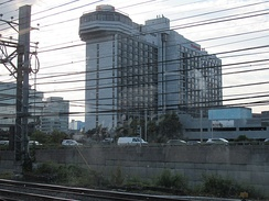 Stamford, CT Marriott Hotel from train tracks in Stamford, CT