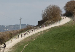 The Strade Bianche cycling race starts and finishes in Siena