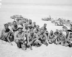 New Zealand members of the Long Range Desert Group pause for tea in the Western Desert, 27 March 1941
