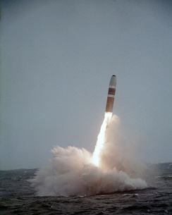 A UGM-96 Trident I clears the water after launch from a US Navy submarine in 1984