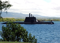 The Adelaide-built Collins-class submarine HMAS Rankin entering Pearl Harbor, August 2004.