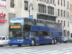 A Van Hool US-specification double-decker bus in New York City, U.S.