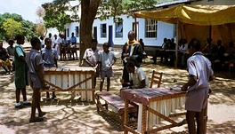 Zimbabwean primary school students playing marimbas