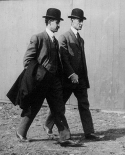 Wright brothers at the Belmont Park Aviation Meet in 1910 near New York
