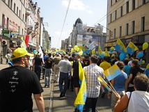 Silesians demonstrating in Katowice (in Silesia).