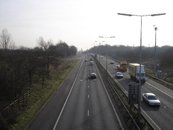 A1(M) looking southwards from junction 2 at Hatfield