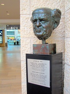 Sculpture of David Ben-Gurion at Ben Gurion Airport, named in his honor