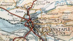 A map of Barnstaple from 1937, showing the railway lines.