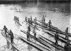 Papuans on the Lorentz River, photographed during the third South New Guinea expedition in 1912–13.