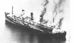 The burning Cap Arcona shortly after the attacks, 3 May 1945. Only 350 survived of the 4,500 prisoners who had been aboard