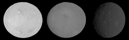 Asteroid 1 Ceres, imaged by the Dawn spacecraft at phase angles of 0°, 7° and 33°. The left image at 0° phase angle shows the brightness surge due to the opposition effect.