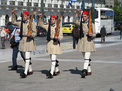 Evzones of the Presidential Guard in front of the Greek Parliament holding M1 Garands.