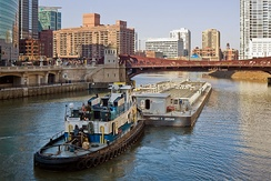Towboat pushing a barge on the Chicago River