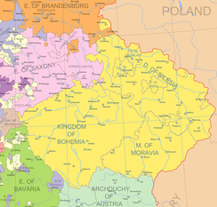 Lands of the Bohemian Crown until 1742 when most of Silesia was ceded to Prussia