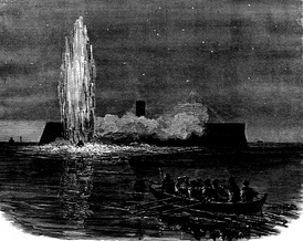 CSS David engaging New Ironsides on 5 October 1863, during the blockade of Charleston