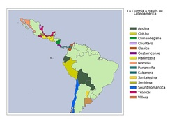The diverse types of cumbia throughout Latin America