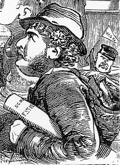 Detail from a Punch cartoon, showing Sullivan and Gilbert.