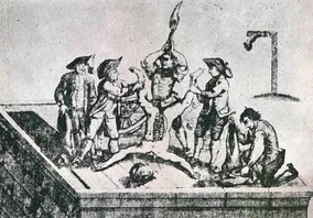 To be hanged, drawn and quartered was from 1351 a penalty in England for common men convicted of high treason.