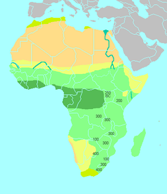"Simplified climatic map of Africa: Sub-Saharan Africa consists of the Sahel and the Horn of Africa in the north (yellow), the tropical savannas (light green) and the tropical rainforests (dark green) of Equatorial Africa, and the arid Kalahari Basin (yellow) and the ""Mediterranean"" south coast (olive) of Southern Africa. The numbers shown correspond to the dates of all Iron Age artifacts associated with the Bantu expansion."