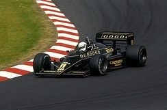 De Angelis driving for Team Lotus at the 1985 German Grand Prix.
