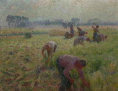 "De vlasoogst (1904) (""Flax harvesting"") painting by Emile Claus, Royal Museums of Fine Arts of Belgium, Brussels, Belgium"