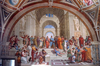 Raphael's, School of Athens (1509–1511), a fresco in the Raphael Rooms of the Apostolic Palace, Vatican