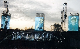 Genesis performing at the Knebworth Festival in August 1992.