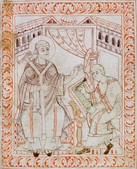 An 11th-century illustration of Gregory the Great dictating to a secretary